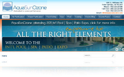 Aqua Sun Ozone Website Display