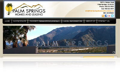 Palm Springs Homes and Leasing Websystem Display